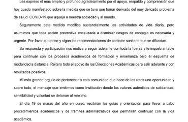 Universidad de Negocios ISEC - Comunicado del 17 marzo sobre COVID-19