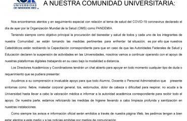 Universidad de Negocios ISEC - Comunicado del 12 marzo sobre COVID-19