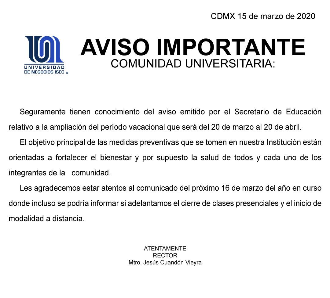 Universidad de Negocios ISEC - Comunicado del 15 marzo sobre COVID-19