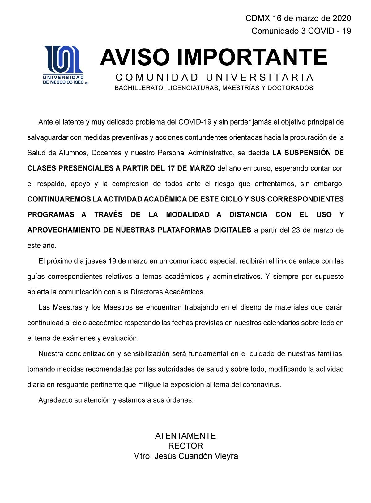 Universidad de Negocios ISEC - Comunicado del 16 marzo sobre COVID-19