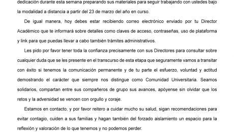 Universidad de Negocios ISEC - Comunicado del 19 marzo sobre COVID-19